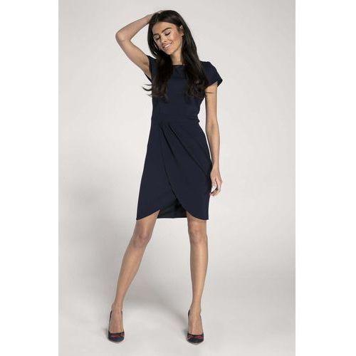 4bae6713ee Granatowa elegancka dopasowana sukienka z kopertowym dołem