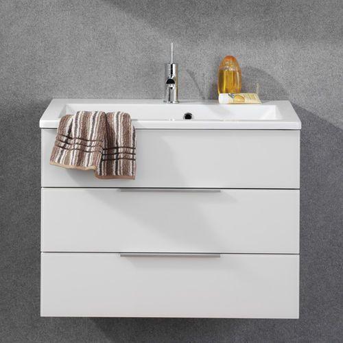 Szafka łazienkowa biała z umywalką konglomeratową kara 80 cm marki Fackelmann