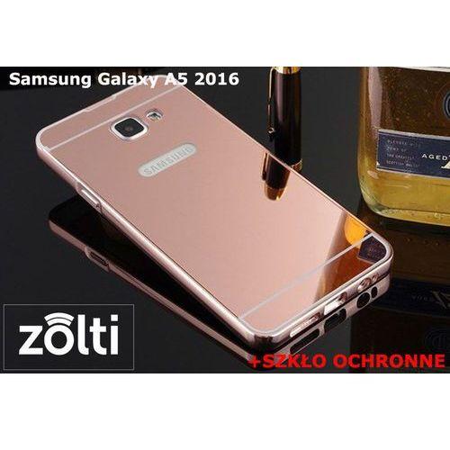 Zestaw   Mirror Bumper Metal Case Różowy + Szkło ochronne Perfect Glass   Etui dla Samsung Galaxy A5 2016, kolor różowy