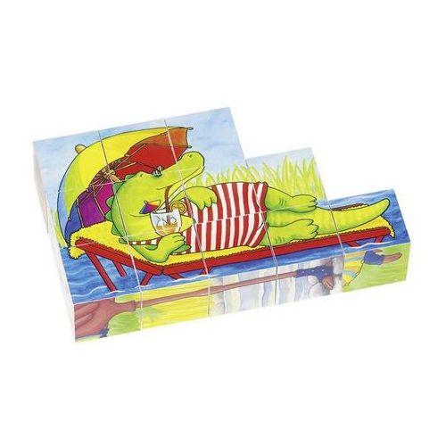 Klocki z obrazkami w drewnianym pudełku, zabawne zwierzęta, 12 el. marki Goki