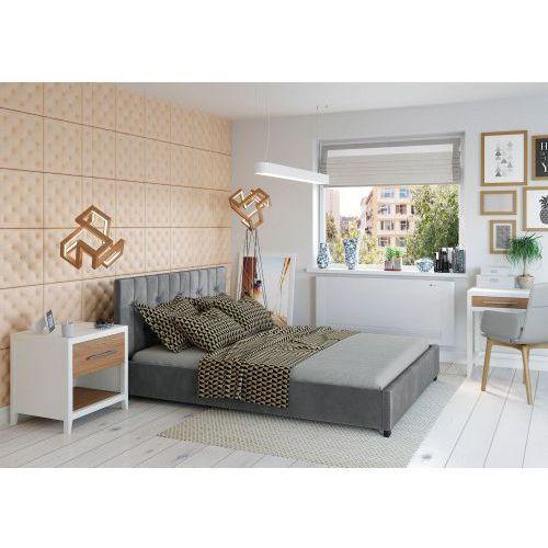 Łóżko 160x200 tapicerowane modena + pojemnik welur ciemno szare marki Big meble