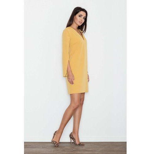 Żółta Sukienka Koktajlowa Mini z Rozciętym Rękawem, koktajlowa