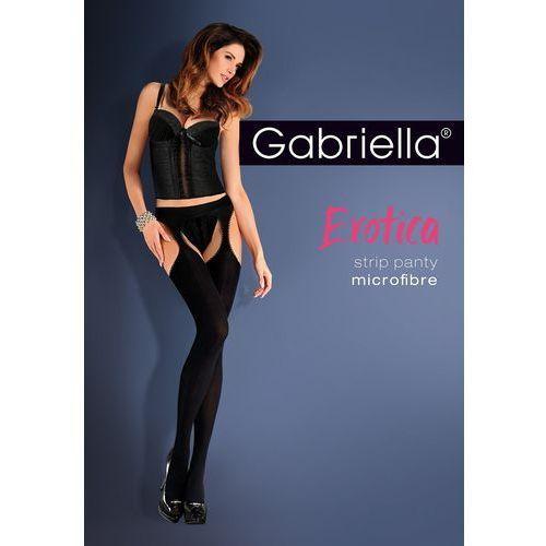 Rajstopy erotica strip panty microfibra 638 3/4-m/l, czarny/nero, gabriella marki Gabriella