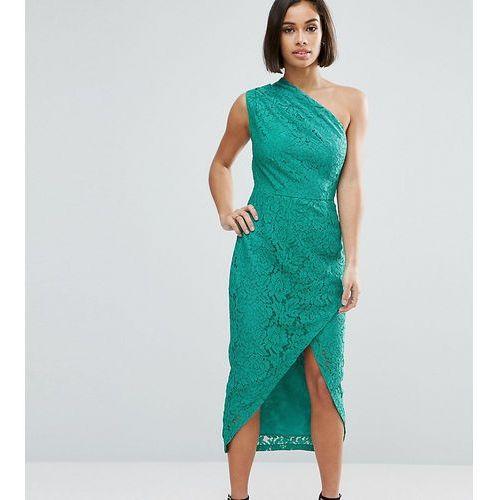 ASOS PETITE Lace One Shoulder Midi Pencil Dress - Blue