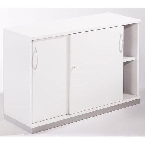 Thea - szafa z przesuwnymi drzwiami, 1 półka, 2 wys. segregatora, stara biel. ni marki Fm büromöbel
