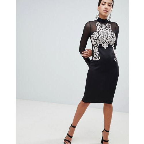 Ax paris long sleeve bodycon dress with contrast lace detail - black