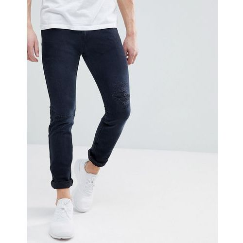HUGO Skinny Fit Stretch Distressed Jeans In Grey - Grey, kolor szary