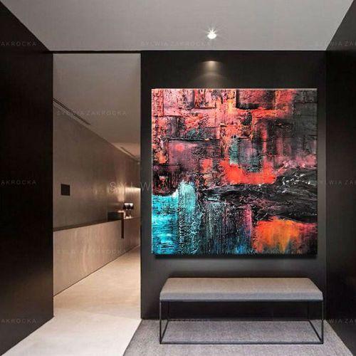 Kolorowa abstrakcja- efektowny duży obraz nowoczesny