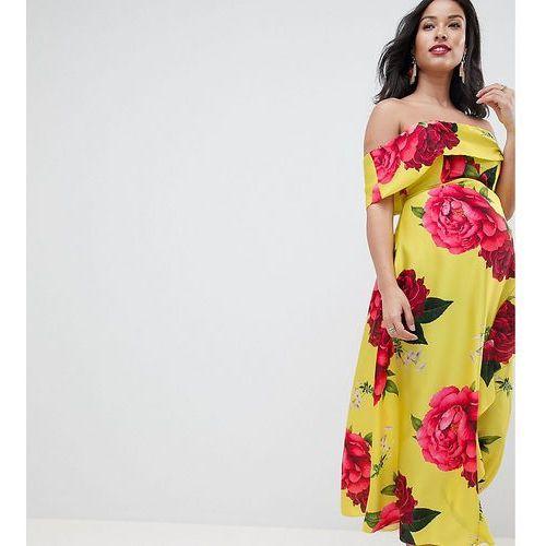 Asos design maternity bandeau dress with dipped hem in floral print - multi, Asos maternity