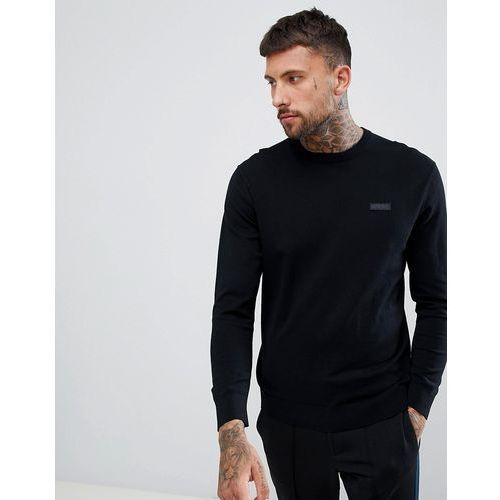 san claudio crew neck knitted jumper with chest logo in black - black, Hugo