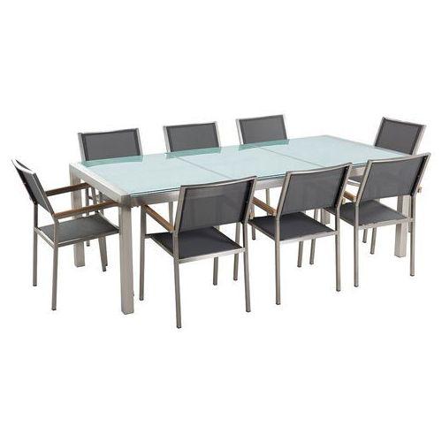 Beliani Stół szklany - do ogrodu - 220 cm - z 8 szarymi krzesłami - grosseto