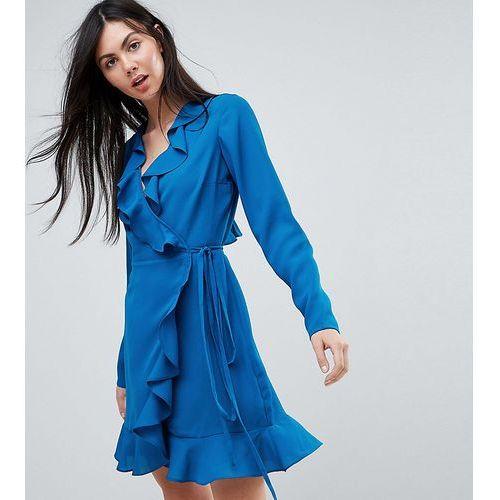 ASOS TALL Long Sleeve Ruffle Wrap Mini Dress - Blue