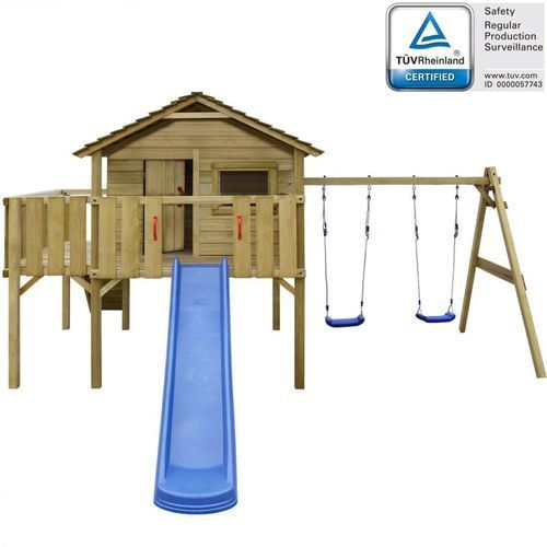 Vidaxl Domek dla dzieci z drabinką, zjeżdżalnią i huśtawkami, z drewna