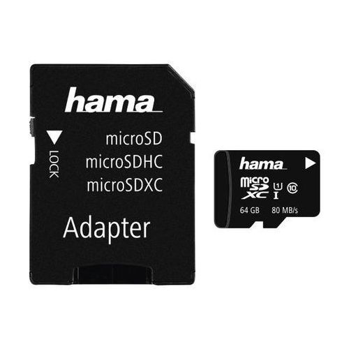 Karta pamięci HAMA microSDXC 64GB Class 10 UHS-I 80MB/s + adapter (4047443300430)