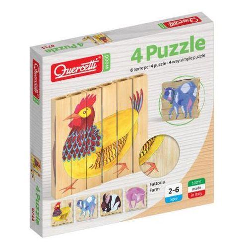 Drewniane klocki puzzle farm 6el. quarcetti (040-0711) marki Quercetti