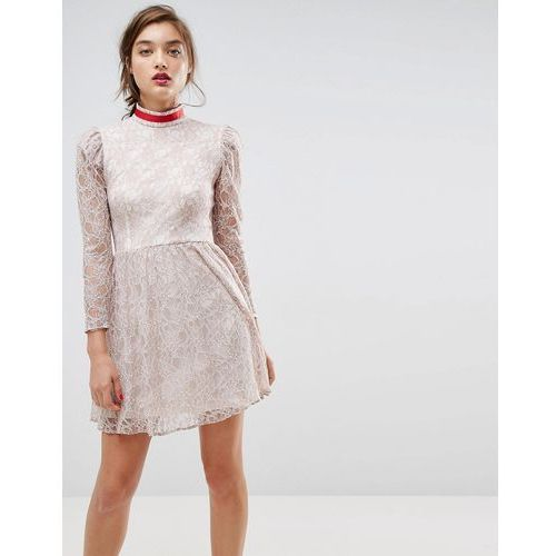 Asos lace puff sleeve mini dress with ribbon neck - grey