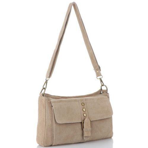 99768166f833e włoskie torebki skórzane listonoszki na każdą okazję w całości wykonane z  wysokiej jakości zamszu naturalnego beżowe