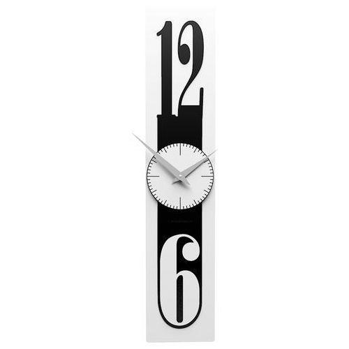 Calleadesign Zegar ścienny na wąską ścianę thin biały / czarny (10-026-5)