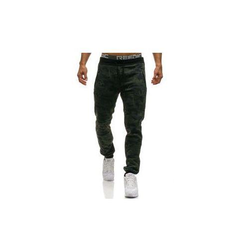 Spodnie męskie dresowe joggery moro-khaki Denley W1378, kolor zielony