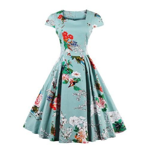 Rosegal Cape sleeve floral print flare dress