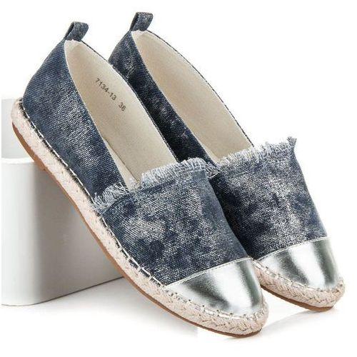 Granatowe espadryle ze srebrnym noskiem - odcienie niebieskiego, Vices