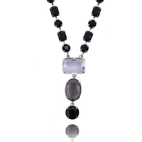 Naszyjnik z kryształkami w kolorach czarnym szarym i przezroczystym