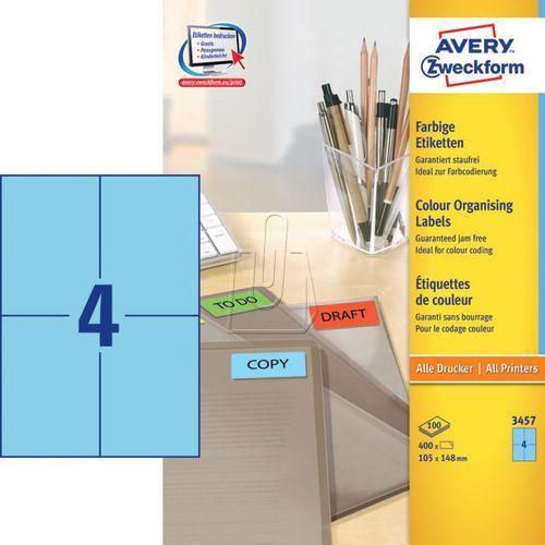 Etykiety kolorowe trwałe Avery Zweckform niebieskie 105 x 148mm 100 ark./op. 345, 87772