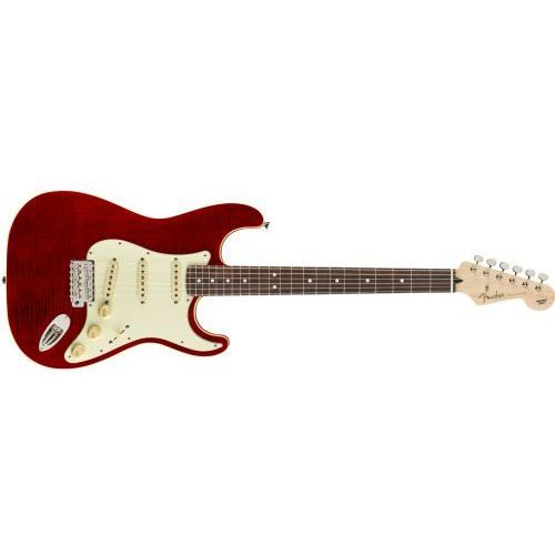 Fender Aerodyne Classic Stratocaster Flame Maple TopRosewood Fingerboard Crimson Red Transparent gitara elektryczna