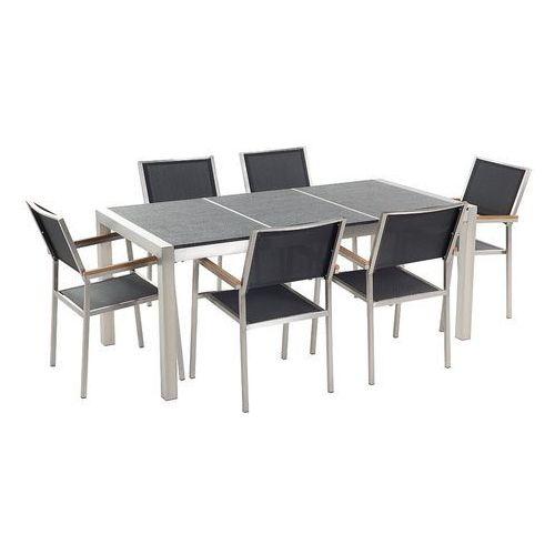 Stół kamienny czarny palony 180 cm z 6 czarnymi krzesłami - GROSSETO (7081457277088)