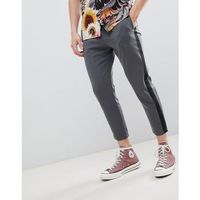 tailored trousers with side stripe in grey - grey, Pull&bear, S-L