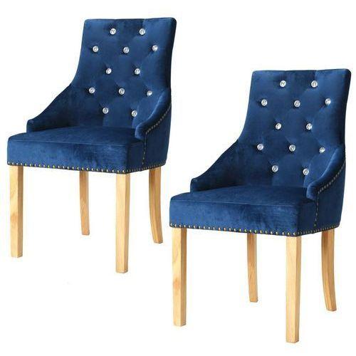 Krzesła do jadalni, 2 szt., drewno dębowe i niebieski aksamit