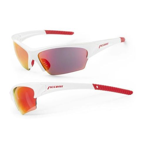 Okulary racer biały-czerwony / kolor soczewek: niebieskie / rodzaj szkieł: standardowe marki Accent