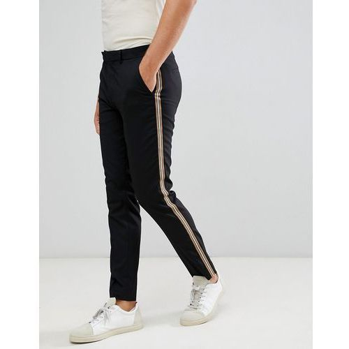 skinny fit trousers with side tape detail in black - black marki River island