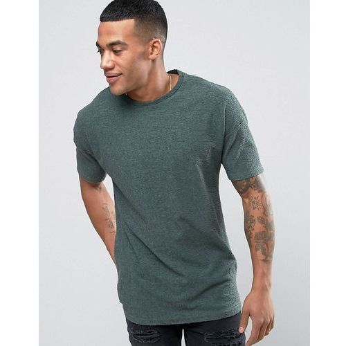 Religion T-Shirt In Textured Fabric With Drop Shoulder Detail - Green, w 2 rozmiarach