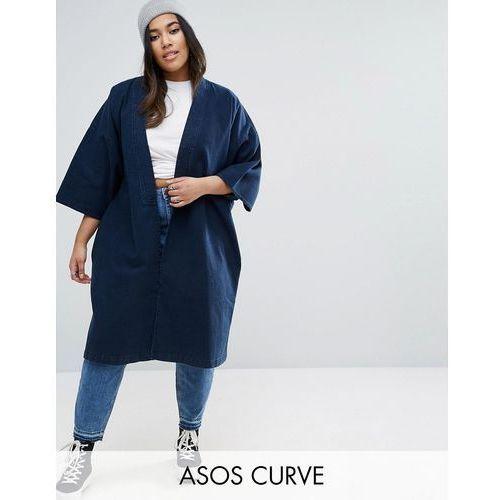 ASOS CURVE Denim Kimono With Split Sleeve and Tie Detail - Blue - sprawdź w wybranym sklepie