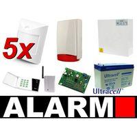 Zestaw alarmowy ca-6 led, gsm, 5 czujek, sygnalizator zewnętrzny marki Satel