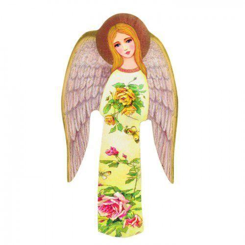 Ikona religijna Anioł Stróż w różach dla dziewczynki