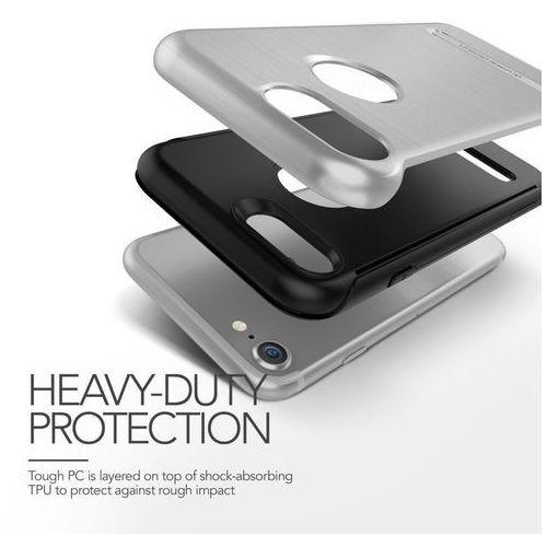 Etui VRS DESIGN Duo Guard do iPhone 7 Srebrny stalowy, kolor szary
