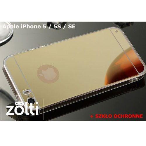 Zestaw | slim mirror case złoty + szkło ochronne perfect glass | etui dla apple iphone 5 / 5s / se marki Slim mirror / perfect glass