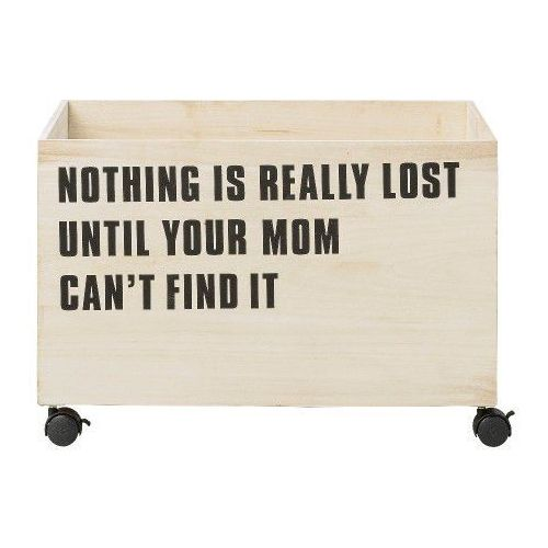 Bloomingville Duża drewniana skrzynia na zabawki nothing is really lost -