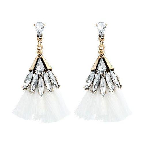 Kolczyki kryształki chwost białe - białe marki Cloe