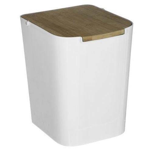 Biały kubeł na śmieci z bambusa, mały kosz na śmieci, kosz na śmieci do łazienki, kosz na odpady kuchenne, kosz na śmieci 5L (3560239658269)