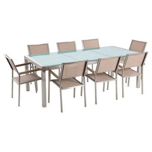Stół szklany - do ogrodu - 220 cm - z 8 beżowymi krzesłami - GROSSETO