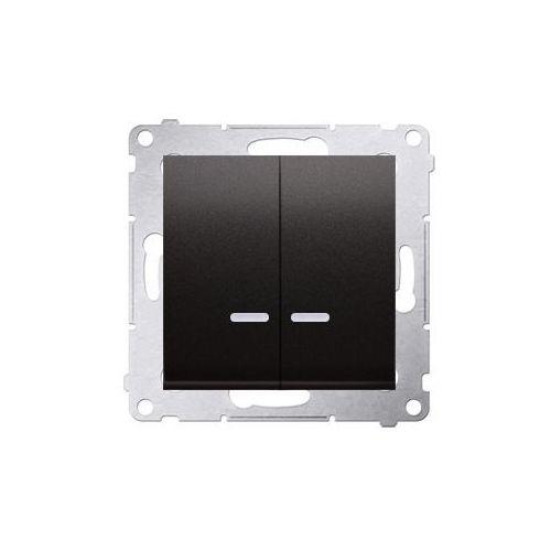 SIMON 54 Łącznik świecznikowy z podświetleniem LED i do wersji IP44 (moduł) 10AX, 250V~, szybkozłącza; antracyt *Posiada wkładkę DU1W DW5BL.01/48 WMDL-551xxx-048