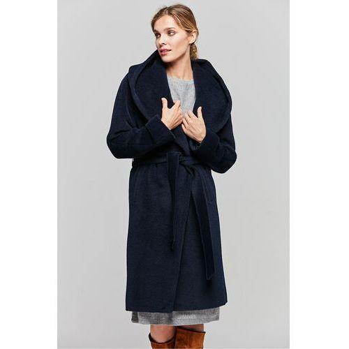 Granatowy płaszcz z suri alpaki i wełny dziewiczej - marki Patrizia aryton