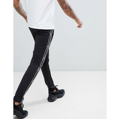 boohooMAN skinny fit joggers with taping detail in black - Black, 1 rozmiar