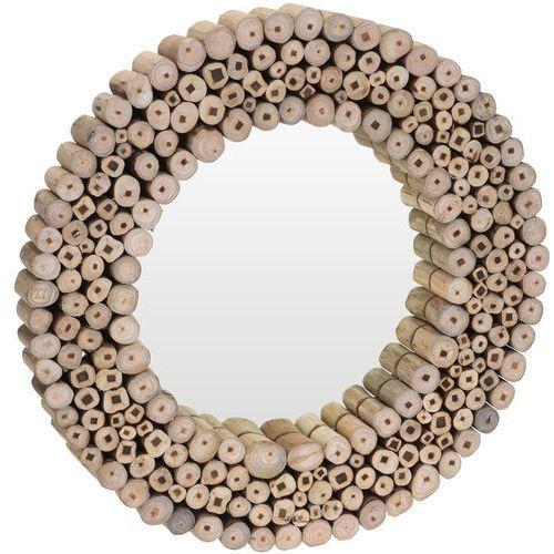Home styling collection Lustro ścienne w drewnianej oprawie, okrągłe lustro ścienne - drewno tekowe, Ø 50 cm (8719202738537)