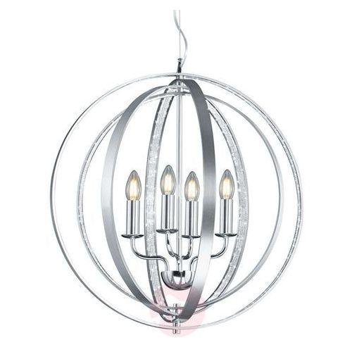 LAMPA wisząca CANDELA 102000405 Trio świecznikowa OPRAWA zwis pierścienie rings kula ball szczotkowane aluminium