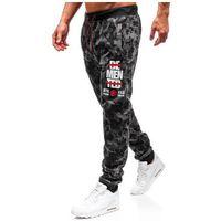 J.style Spodnie męskie dresowe joggery moro-grafitowe denley 55095