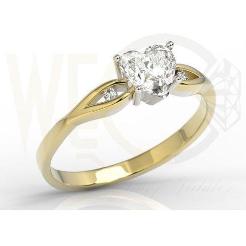 Pierścionek z żółtego i białego złota z białym topazem w kształcie serca i diamentami LP-71ZB